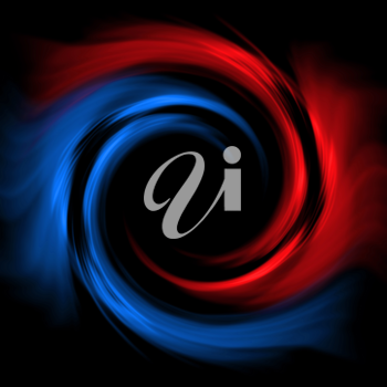 Royalty Free Clipart Image of a Red Blue Vortex on Black