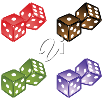 Royalty Free Clipart Image of Pairs of Dice