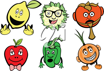 Royalty Free Clipart Image of Food With Faces