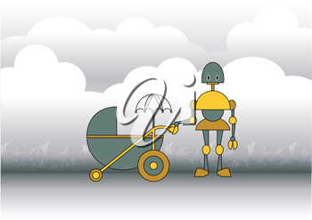 Royalty Free Clipart Image of a Robot Pushing a Stroller