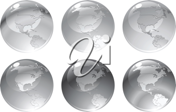 Royalty Free Clipart Image of Grey Globes