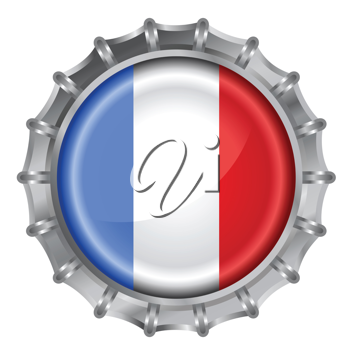 Royalty Free Clipart Image of a Flag of France Bottle Cap