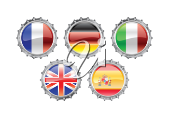 Royalty Free Clipart Image of Flag Themed Bottlecaps