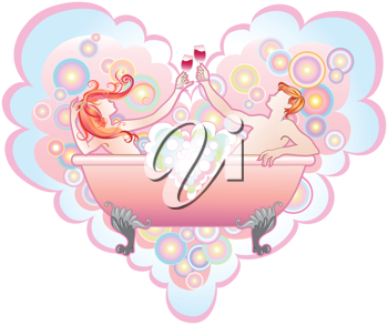 Royalty Free Clipart Image of a Couple in a Bathtub