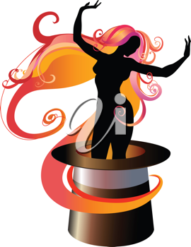 Royalty Free Clipart Image of a Woman Dancing in a Tophat