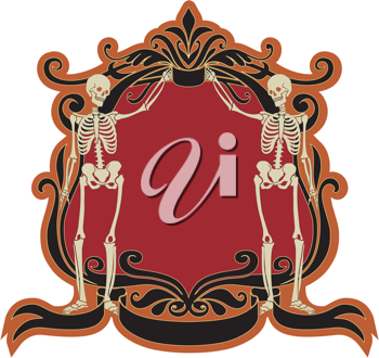 Royalty Free Clipart Image of a Frame With Skeletons