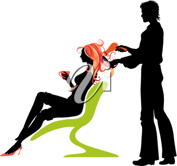 Royalty Free Clipart Image of a Woman at the Hairdressers