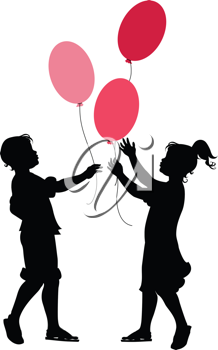 Royalty Free Clipart Image of Children Holding Balloons