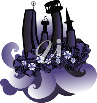 Royalty Free Clipart Image of a Floral City Design