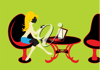 Royalty Free Clipart Image of a Woman Working