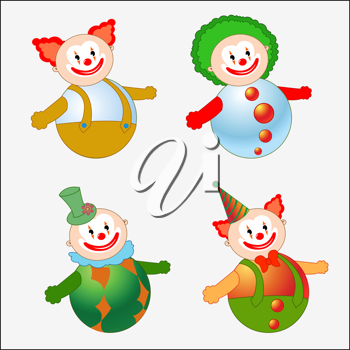 Royalty Free Clipart Image of Circus Clowns