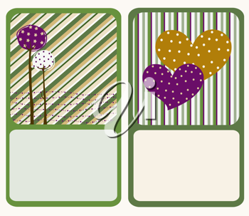 Royalty Free Clipart Image of Two Greeting Cards