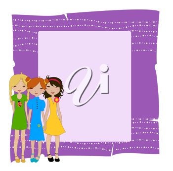 Royalty Free Clipart Image of a Frame With Girls