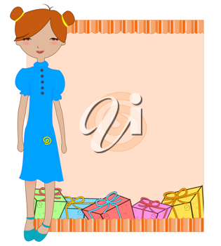 Royalty Free Clipart Image of a Girl With Gifts