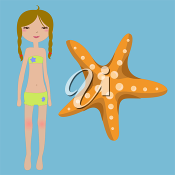 Royalty Free Clipart Image of a Girl with a Starfish