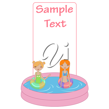 Royalty Free Clipart Image of Girls in a Swimming Pool