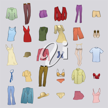 Royalty Free Clipart Image of a Bunch of Clothes
