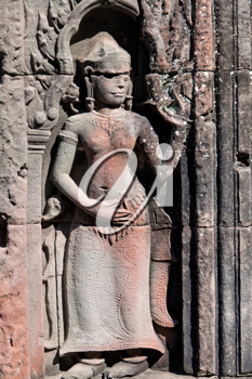 Royalty Free Photo of an Apsara Statue on Temple Preah Khan, Siem Reap, Cambodia