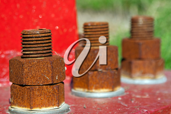 Line of rusty bolts on red background