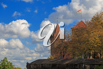 Nuremberg Castle with blue sky and trees