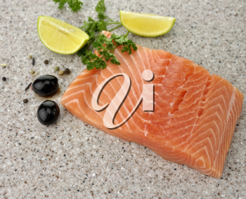 Royalty Free Photo of Raw Salmon Fillet With Lemon And Spices