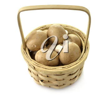 Royalty Free Photo of Mushrooms in a Basket