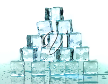a stack of ice cubes on a white background
