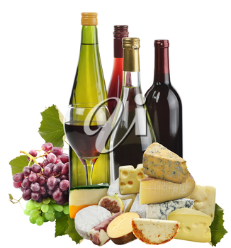 Royalty Free Photo of Wine, Grapes and Cheese