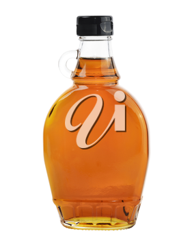 Bottle Of Natural Maple Syrup Isolated On White Background.