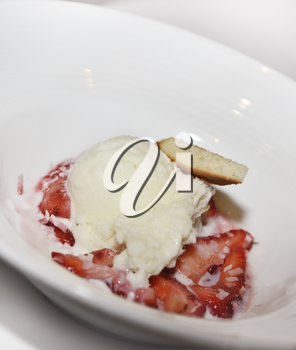 Dessert With Ice Cream And Strawberry