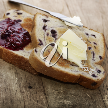 Blueberry Swirl Bread Toasts With Butter And Jam