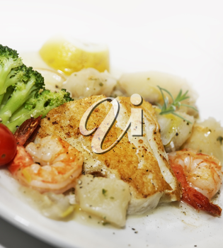 Salmon Fillet With Shrimps And Vegetables