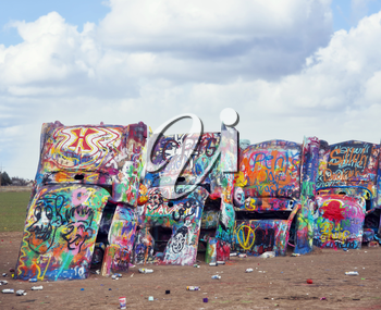AMARILLO, TEXAS, USA - March 10 , 2019. Cadillac Ranch in Amarillo. Cadillac Ranch is a public art installation of old car wrecks and a popular landmark on historic Route 66