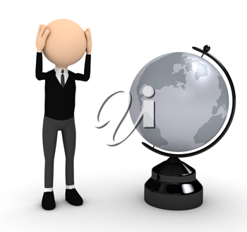 Royalty Free Clipart Image of a Businessman With a Globe