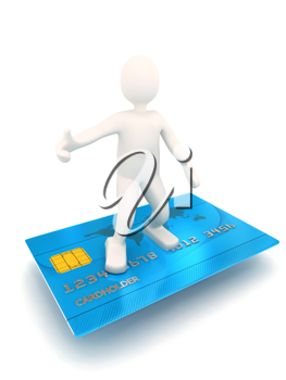 Royalty Free Clipart Image of a Person Standing on a Credit Card