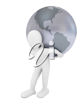 Royalty Free Clipart Image of a Person Carrying the World