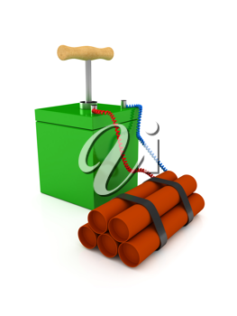 Royalty Free Clipart Image of Explosives With a Detonator
