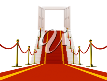 Royalty Free Clipart Image of a Red Carpet on a Staircase