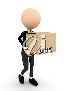 3d person with carton package. computer generated image