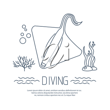 Diving icon with Stingray and bubbles. Vector