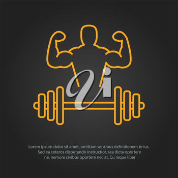 Fitness line art icon for your design. Vector illusration