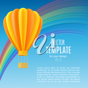 Yellow and orange air ballon with basket fly past rainbow. Template for flyer or poster