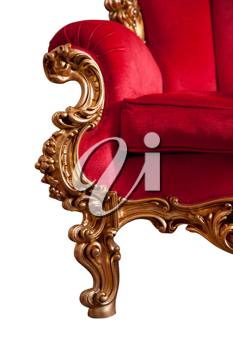 Red baroque sofa, isolated on white