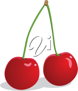 Royalty Free Clipart Image of Two Cherries