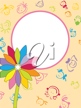 Royalty Free Photo of a Flower on a Frame of Children's Faces