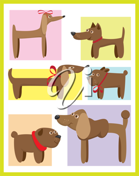 Royalty Free Clipart Image of a Set of Cards With Dogs