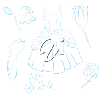 Royalty Free Clipart Image of a Gown and Flowers