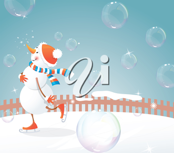 Christmas background - snowman on skates and bubbles