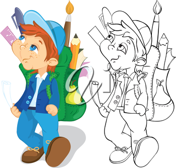 Boy with backpack goes to school. Color and outline illustration