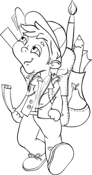 Boy with backpack goes to school. Outline illustration